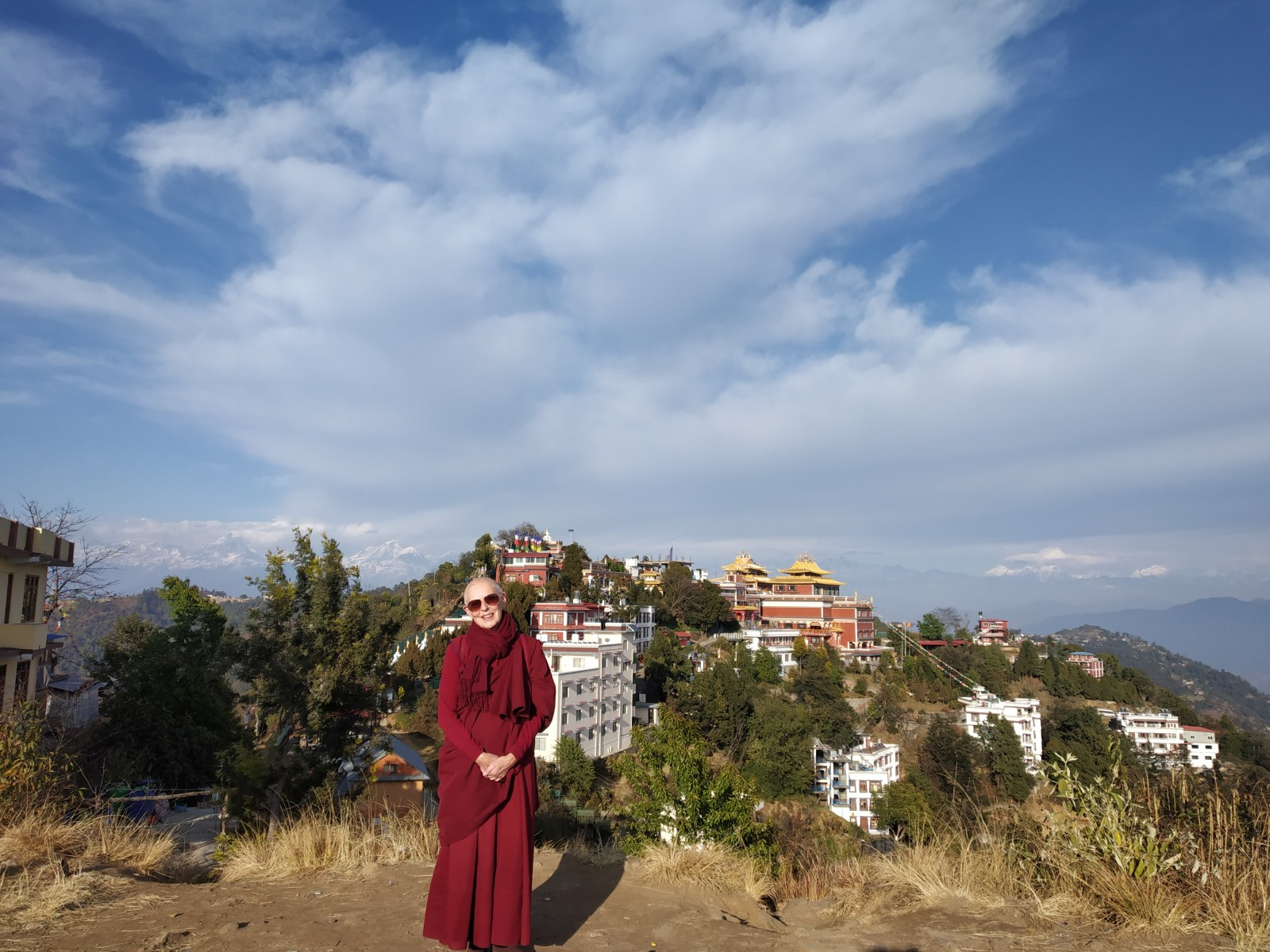 On the hill overlooking the whole complex of Thrangu Monastery at Namo Buddha