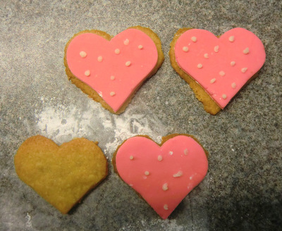Decorated heart shaped cookies