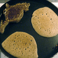 Yes. I tried to make a cat-shaped blini. It wasn't a good idea.