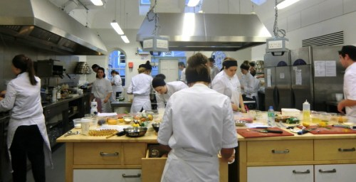 Full time students in full flow at Edinburgh New Town Cookery School