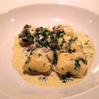Rich and creamy spinach and riccotta gnocchi.