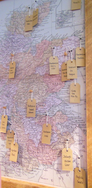 The menu on the map at Scran and Scallie