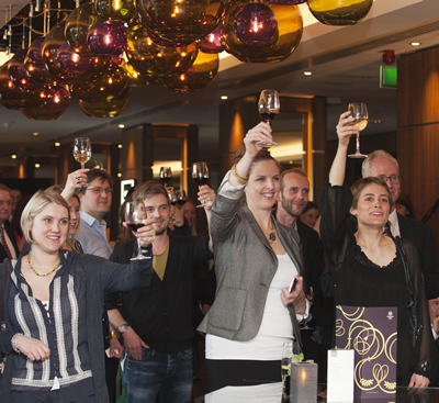 A global toast celebrates the launch