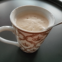 Royal cup, great coffee from Pact coffee, frothy soya milk. Bliss.`