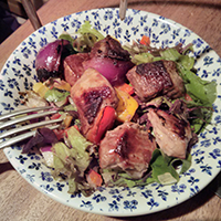 Gentle sliding turned my kebab into kebab salad. The Potting Shed, Edinburgh.
