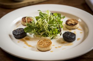 Rabbit Boudin and Black Pudding with Crisp Apple Salad Photo copyright Brendan MacNeill