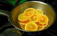 Caramelising the oranges