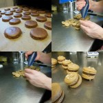 Our piped macarons out of the oven. As they need to cool, we fill caramel flavour ones.