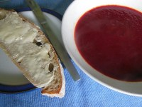 Vegetable soup with sea weed and crusty bread - perfect for lunch