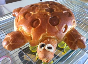 The brioche tortoise was made by the Patisserie class.