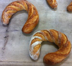 Sesame horseshoes - quite large - imagine a 50 cm loaf bent into shape