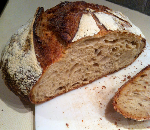 A sourdough loaf with stoneground flour