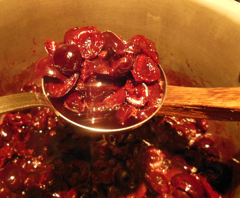 Cook the cherries until softened