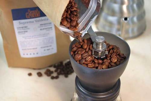 It's in the name: you can order ground coffee, or beans to grind yourself. Beans & Ground.