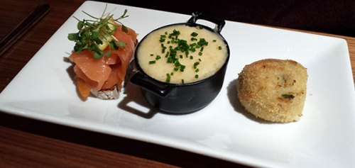 Fishcake, salmon and haggis: a tempting way to start the meal.