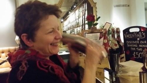 Danielle shaking the gin berry cobbler