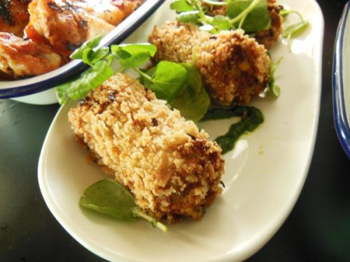 Tomato, olive and roast vegetable croquettes