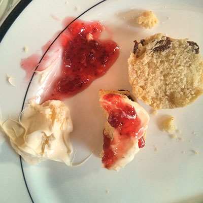Scones: there one second, gone the next. Colonnades, Edinburgh.