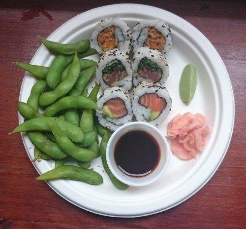 Maki rolls and edamame