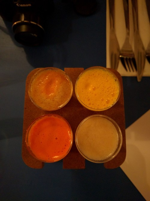Juices, clockwise from top left: apple, orange, pear, carrot and ginger