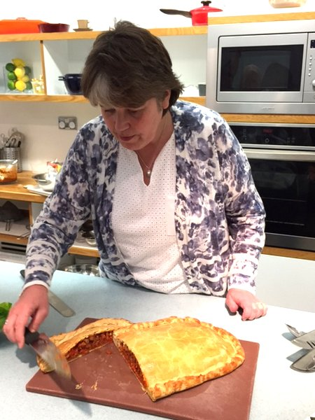 Fiona Burrell putting the finishing touches to the Galician flat pie - Empanada