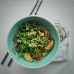 Rice noodle stir-fry with Clearspring ginger umami paste for the sauce. Tasty!