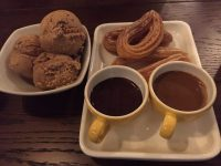 Double dipping churros with salted caramel ice-cream