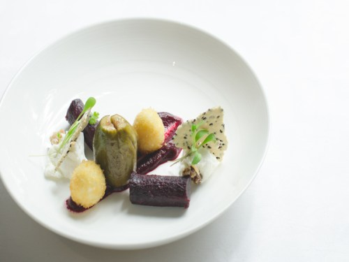 Goats curd and poached fig