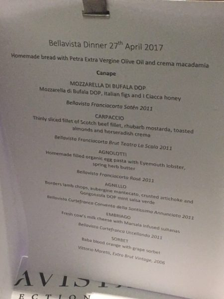 The Bellavista Collection menu