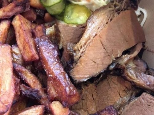 Brisket, chips, pickles and slaw. Entirely delicious and what I hanker for this second.