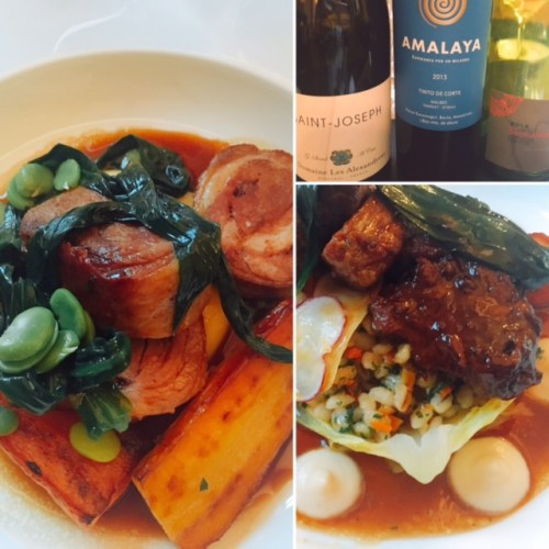 The mains at the Dining Room, perfectly paired with wines