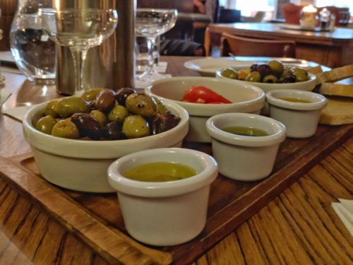 The med sharing board: all the olives you can eat.