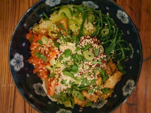 Kimchi in action: we're fermenting for pleasure rather than to keep vegetables out of season.