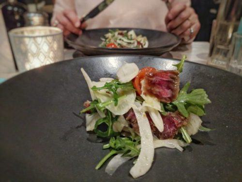 Sugar-cured lamb with fennel and leaves. Lovely!