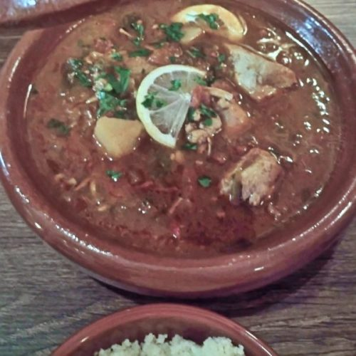 Chicken tagine - brown food is so unphotogenic but tastes fab!