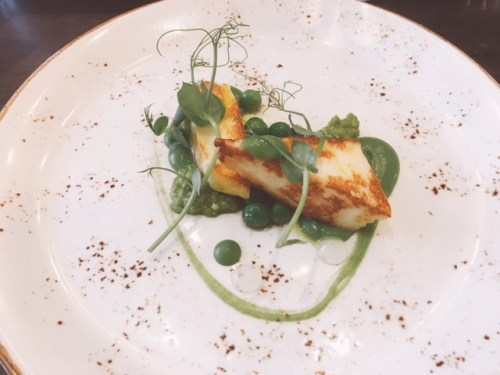 The Vegetarian Scampi - Halloumi with Pea Ketchup, Herb Pesto and Bergamot