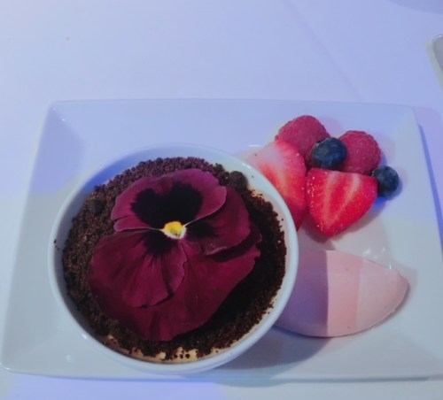 Pittormie Gooseberry, Elderflower Grahams Dairy Baked Cream, with Blacketyside Farm Berries, Chocolate Soil and Raspberry Cream