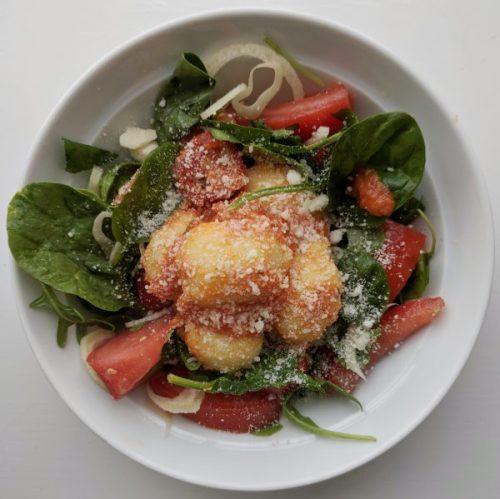 Mozzarella-filled gnocchi wiht tomato sauce and Parmesan. Yum!