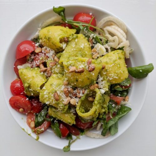 Vibrant in look and flavour: pacheri and pesto.
