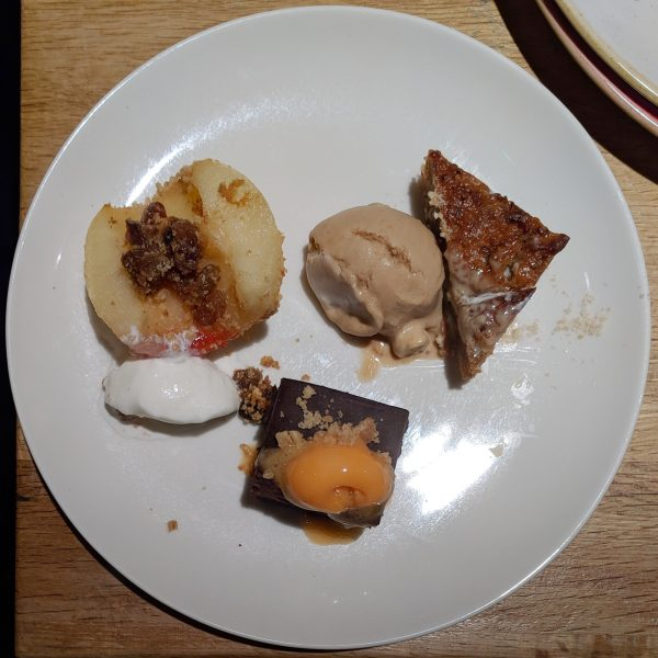 Desserts - sorry, they were neater before I put them on my plate. Apple crumble, fig, hazelnut and ale pudding and chocolate brownie. St. Andrews Brewing Company.