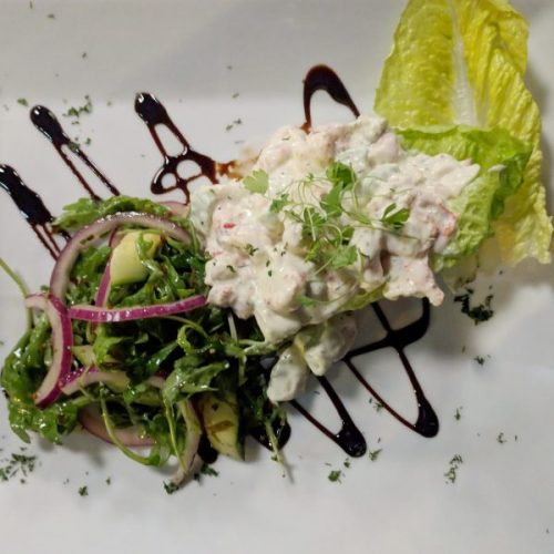 Crayfish and avocado salad: tangy and creamy.