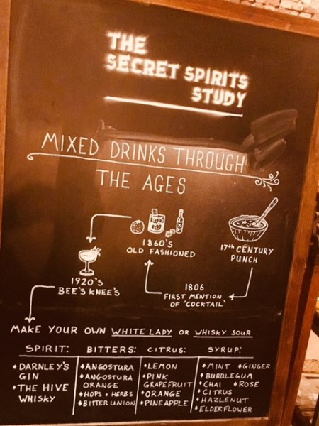 Learn about mixed drinks through the ages at the Secret Spirits Study with Wemyss Malts and Darnley's Gin