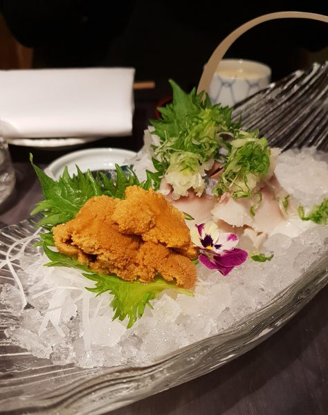 Uni and mackerel sashimi