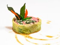 Ballotine of veal, lemon scented spinach and ricotta