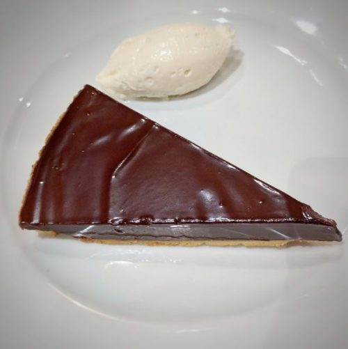 Always ready for its close-up: the Vahlrona chocolate tart.