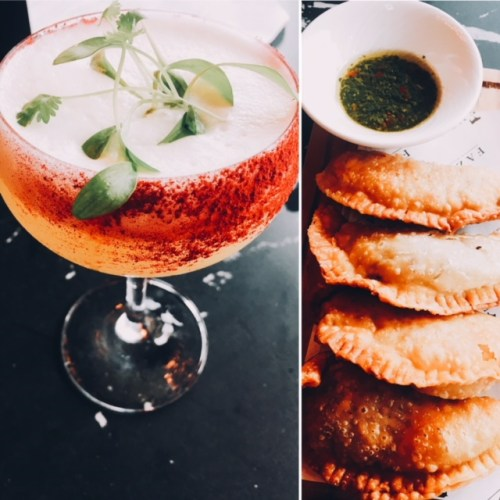 An Orchard Sour paired with Wagyu beef empanadas