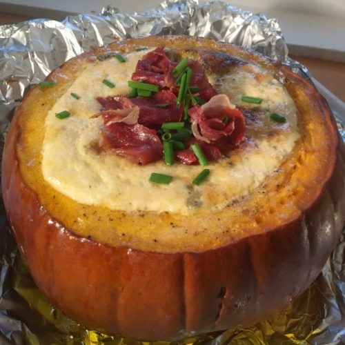 Pumpkin with Cashell Blue sauce - rich and delicious.
