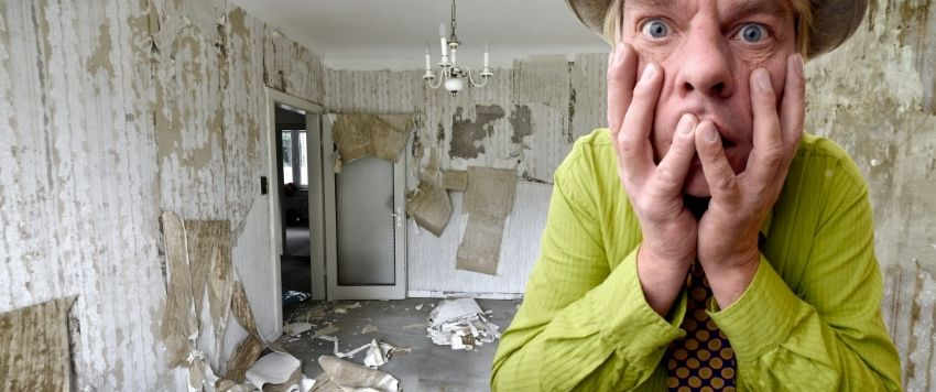 The photo shows a vandalized flat after bad tenants moved out.