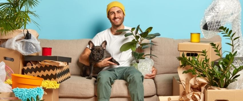 Tenant with a dog on a sofa