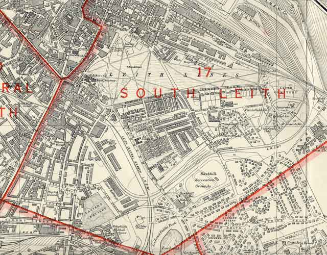 Edinburgh and Leith map  1940   Leith Links section